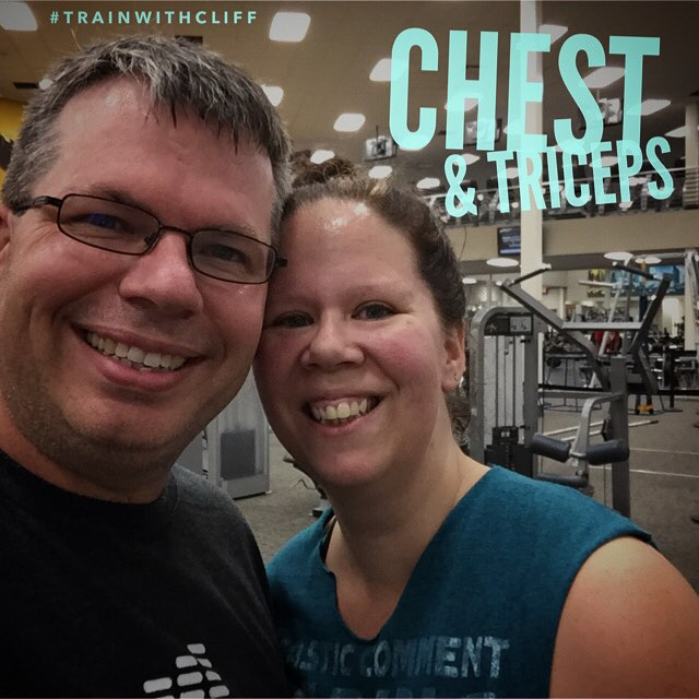 Stephanie and I completed another 1 hour and 10 minute chest and triceps strength training session. #TrainWithCliff