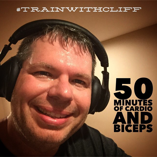 Just completed a 50 minute workout.  I split it up between sets of biceps and elliptical cardio. #TrainWithCliff