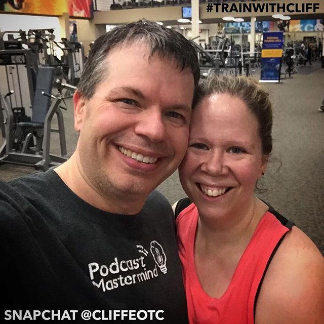 #TrainWithCliff Played racquetball with Matthew for 45 minutes and then Stephanie and I did one hour of legs and shoulders strength training with our personal trainer.